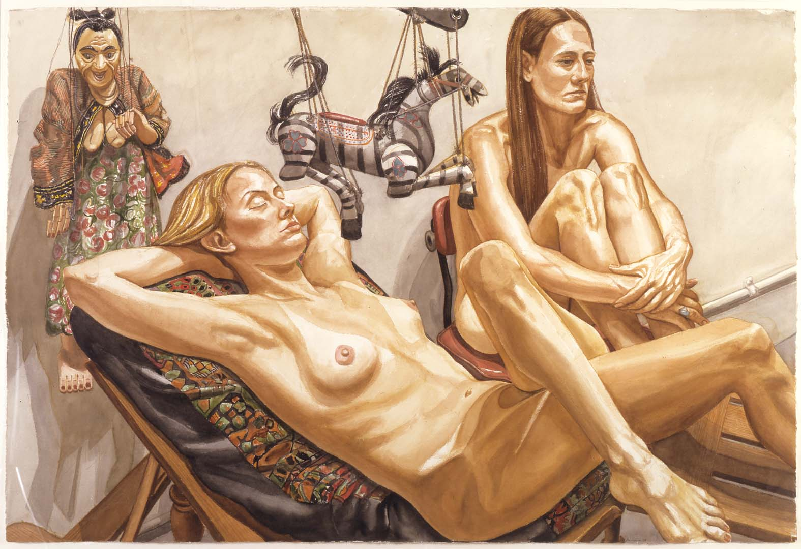 "1998 Study for Two Models with Zebra Marionette and Woman Marionette Watercolor on Paper 40"" x 60"""