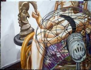 1999 Model with Fan and Oceanic Sculpture Watercolor on Paper 22.5 x 30