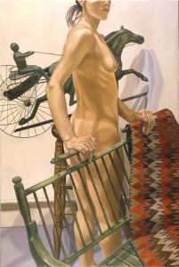1999 Model with Green Bench and Harness Racer Oil on Canvas 60 x 40