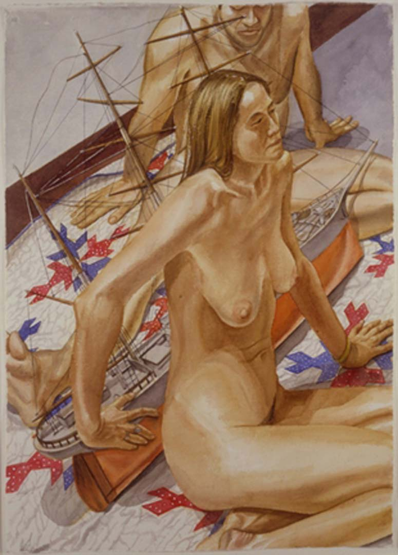 """2000 Male and Female Models with Model of Tall Ship Watercolor on Paper 41.375"""" x 29.625"""""""