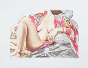 2000 Model in Kimono on Plastic Chair Lithograph on Paper 19.5 x 25