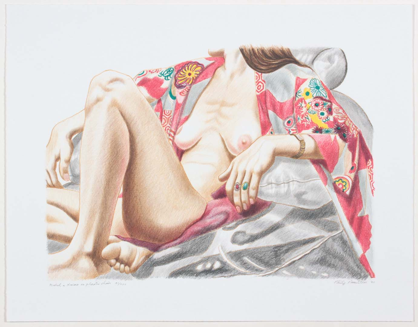 "2000 Model in Kimono on Plastic Chair Lithograph on Paper 19.5"" x 25"""