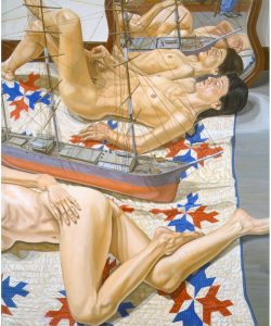 2000 Two Female Models with Model of Tall Ship Oil on Canvas 72 x 60