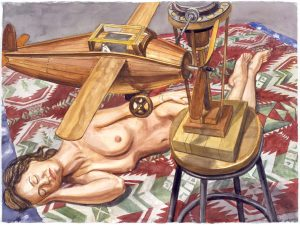 2001 Study for Model with Wooden Airplane Watercolor on Paper 22.75 x 30.5