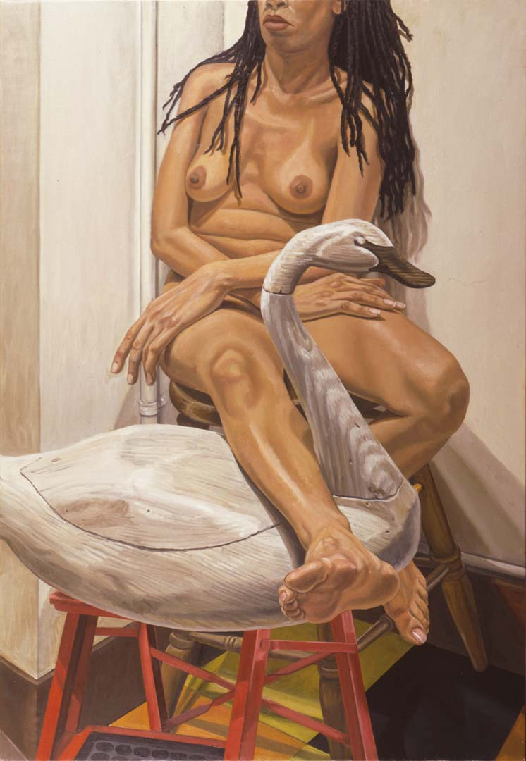 "2002 Model with Swan Decoy on Ladder Oil on Canvas 50"" x 34"""