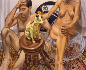 2003 Male & Female Nude with His Master's Voice and Exercise Ball Oil on Canvas 48 x 60