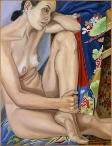 """2003 Model with Blue Flowered Kimono Oil on Canvas 34.625"""" x 26.625"""""""