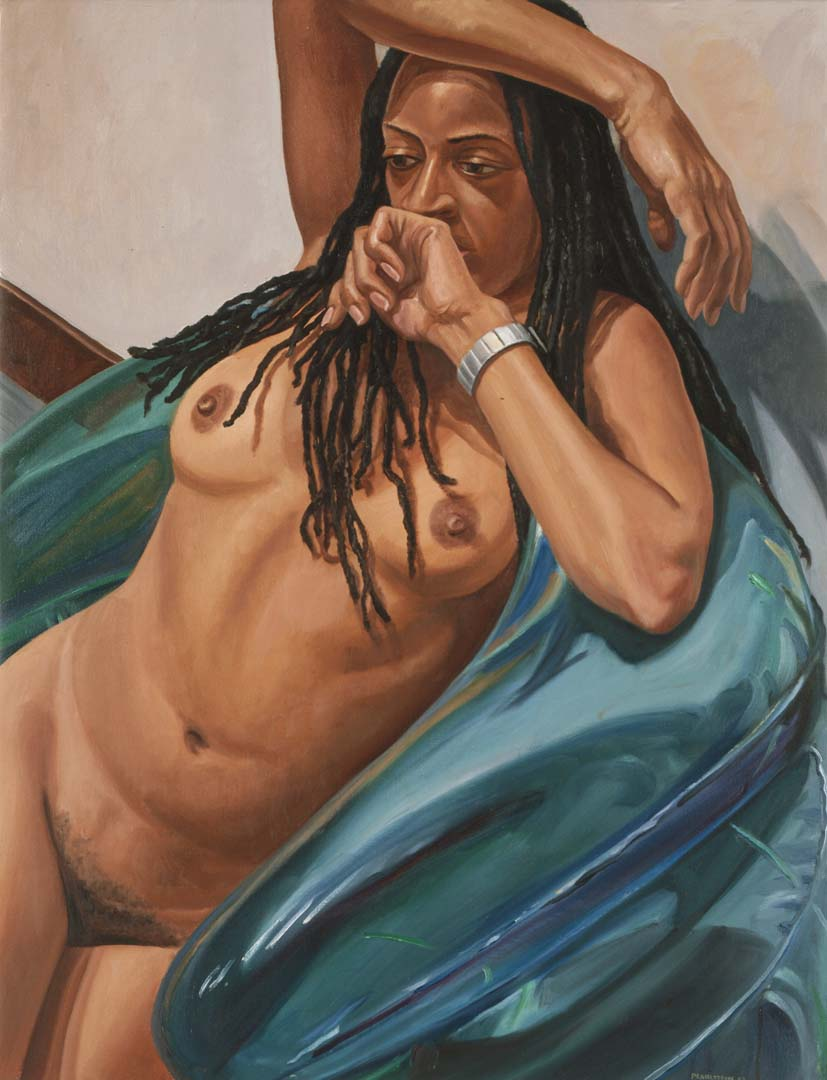 "2003 Model with Dreadlocks on Blue Blow-up Chair Oil on Canvas 29"" x 38"""