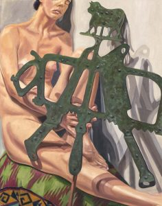 "2003 Model with Old Iron Butcher Sign Oil on Canvas 33.875"" x 26.375"""