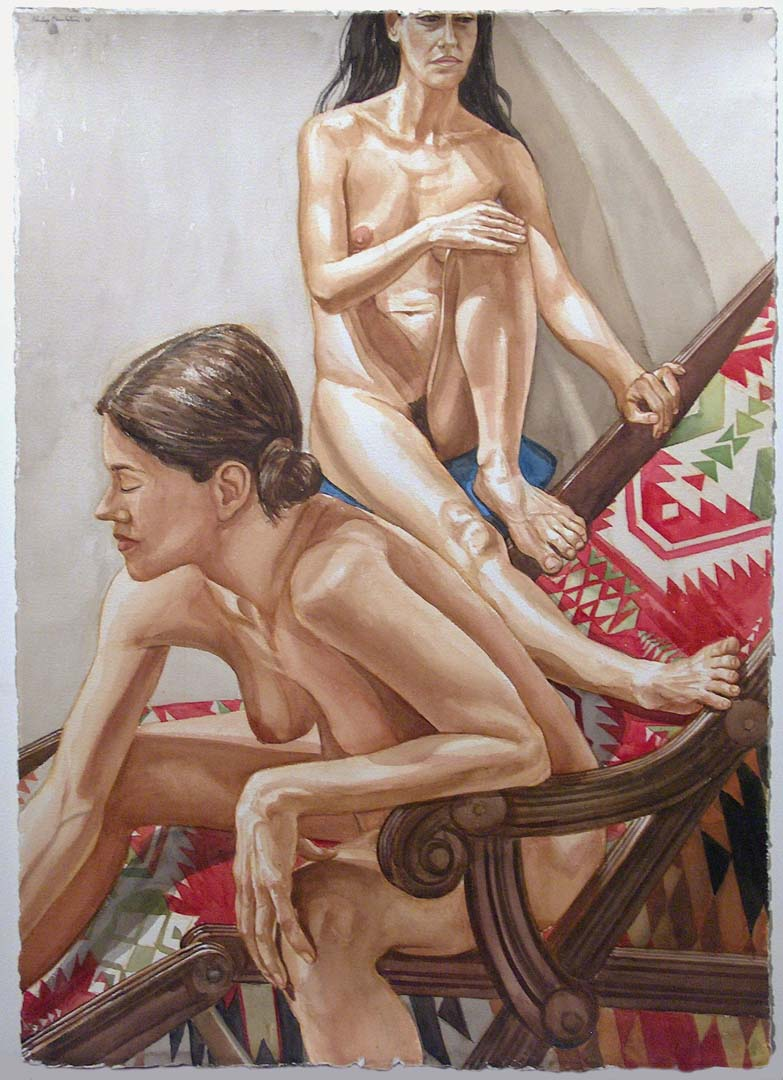 2003 Two Models and a Wood Beachchair Watercolor on Paper 41.5 x 29.625