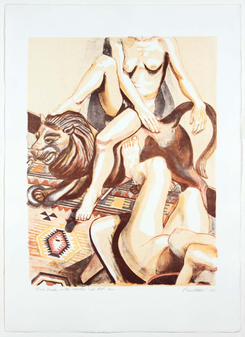 "2003 Two Nudes with Wooden Lion Aquatint Etching on Paper 23.1875"" x 16.5"""