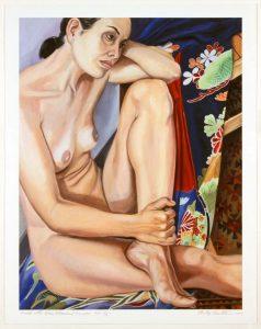 2004 Model In Blue Flowered Kimono Print 21.8125 x 16.5