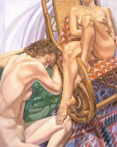 2004 Models with Exercise Ball and Bent Wood Rocker Oil on Canvas 60 x 48