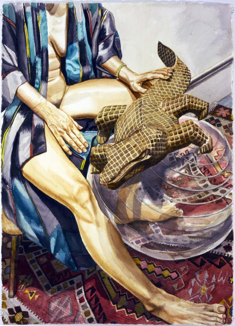 "2004 Model with Carved Wooden Lizard on Exercise Ball Watercolor on Paper 41.25"" x 29.5"""