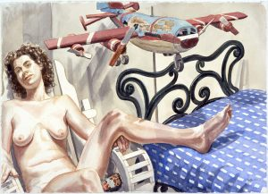 2004 Nude with Weathervane Airplane and Iron Bed Watercolor on Paper 22.75 x 30.5