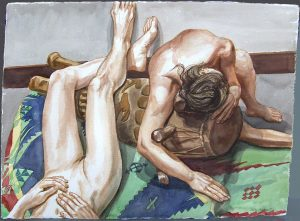 2004 Two Models and African Drum Watercolor on Paper 22.5 x 30