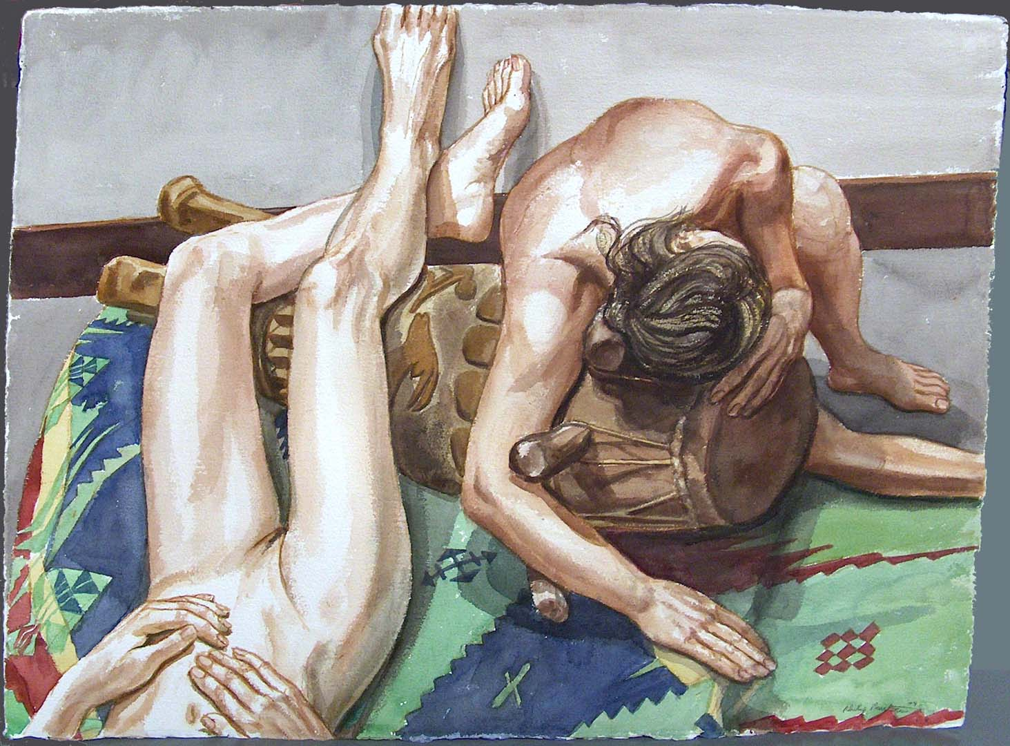 "2004 Two Models and African Drum Watercolor on Paper 22.5"" x 30"""