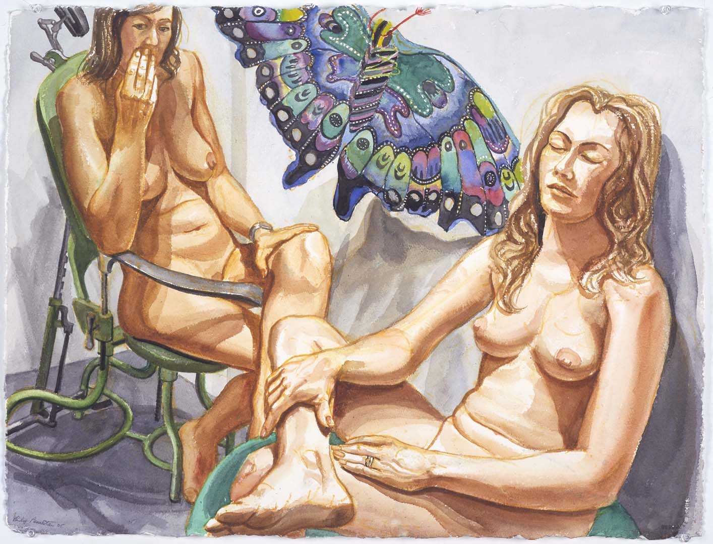 "2004 Two Nudes with Butterfly Kite Watercolor on Paper 23"" x 30.25"""