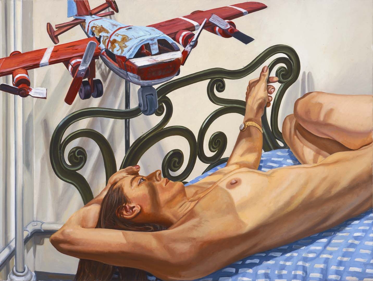 "2005 Model on Cast Iron Bed with Weathervane Airplane #2 Oil on Canvas 36"" x 48"""