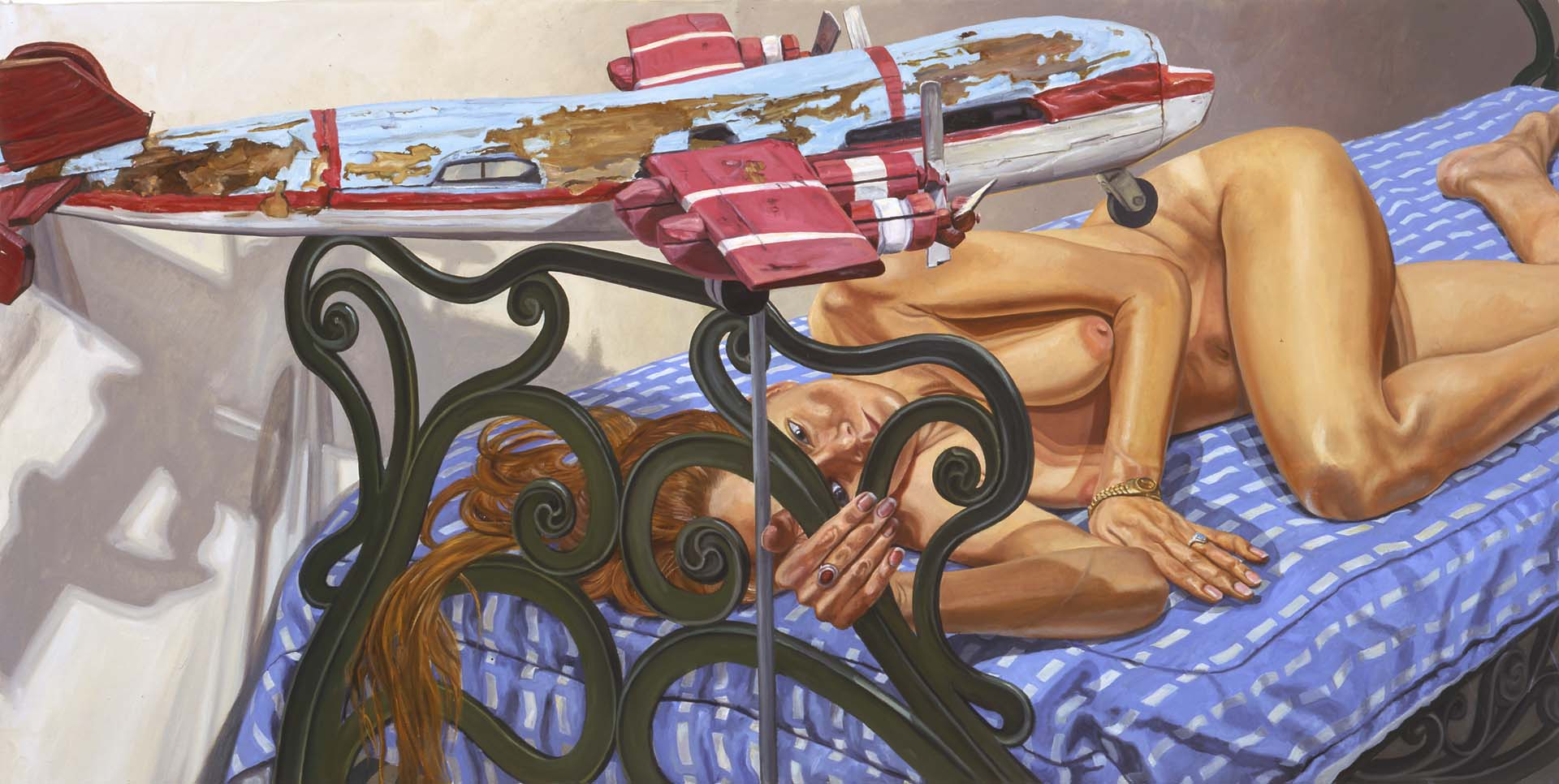 "2005 Model on Cast Iron Bed with Weathervane Airplane #1 Oil on Canvas 36"" x 72"""