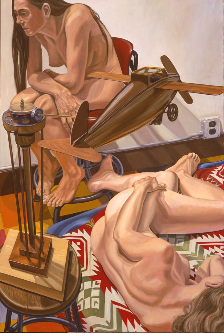 "2005 Models with a Wooden Airplane Oil on Canvas 72"" x 48"""