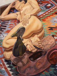 2005 Model with Duck Kiddy Car on Killim Rug Oil on Canvas 48 x 36