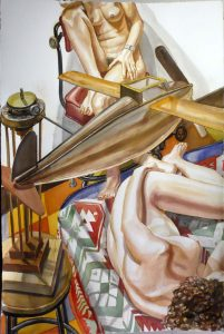 2005 Study For Models With a Wooden Airplane Watercolor on Paper 60 x 40