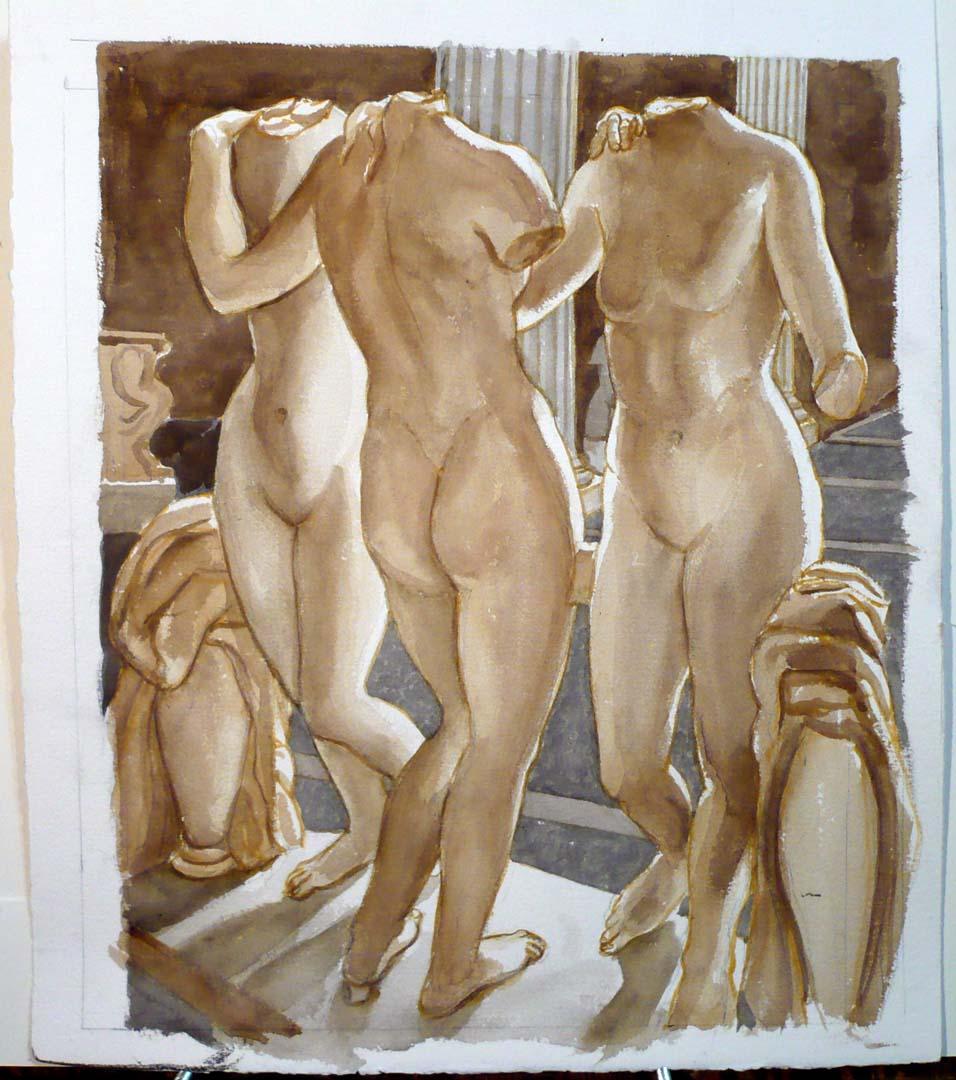 2007 Untitled (Metropolitan Museum Three Graces) Watercolor 22.5 x 18.75