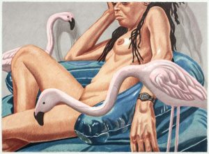 2006 Model with Flamingo Lithograph on Paper 22.5 x 30