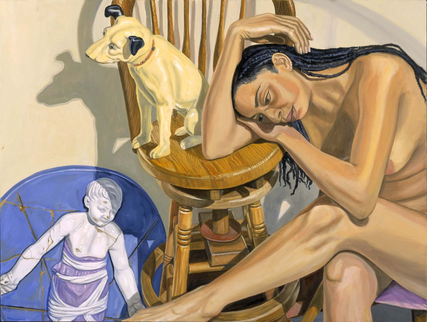 2006 Model with HMV Dog and Rennaissance Bambino Oil on Canvas 36 x 48