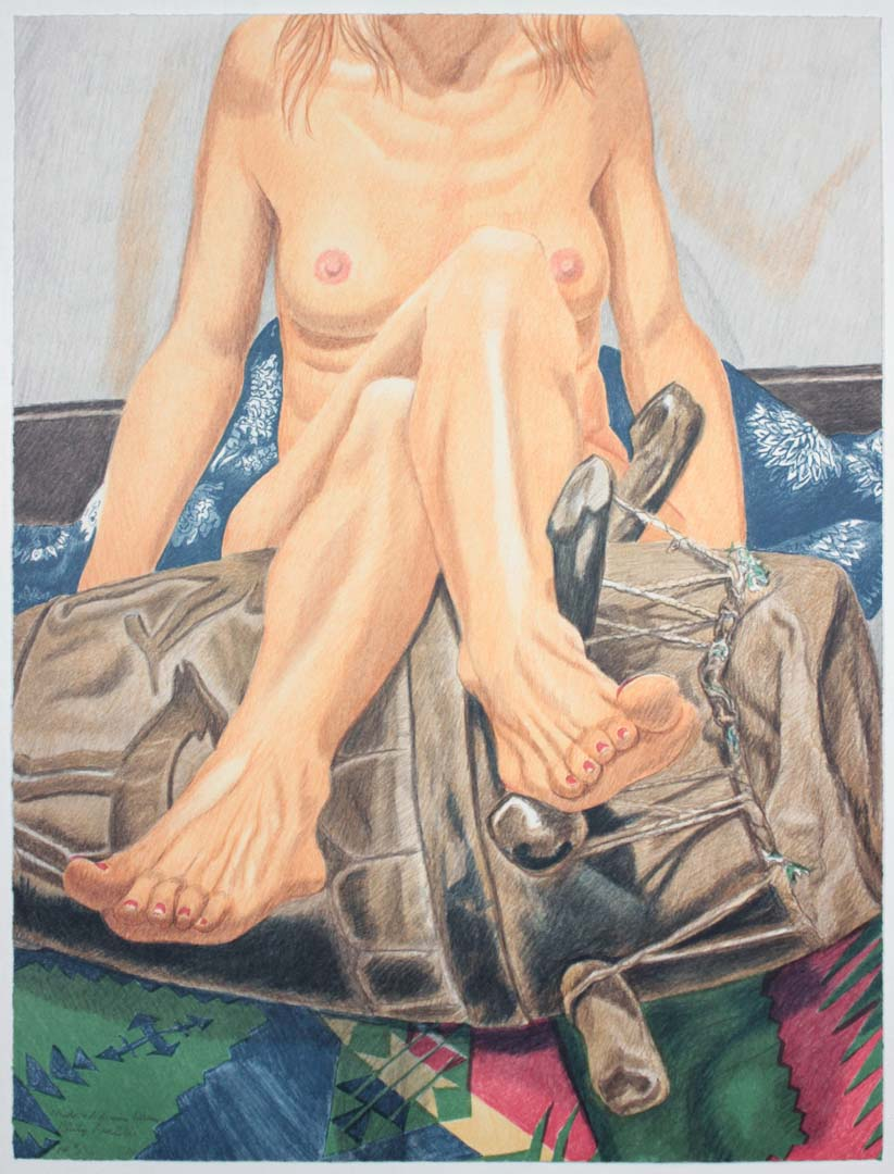 2006 Nude and African Drum Lithograph on Paper 29.5 x 22.25