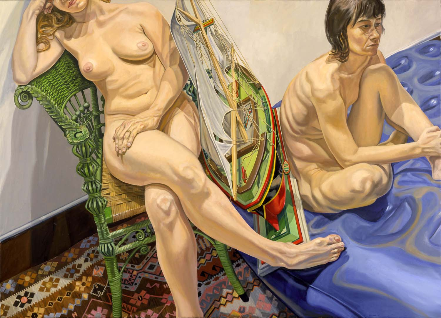 2006 Two Models with Air Mattress & Model Sail Boat Oil on Canvas Dimensions Unknown
