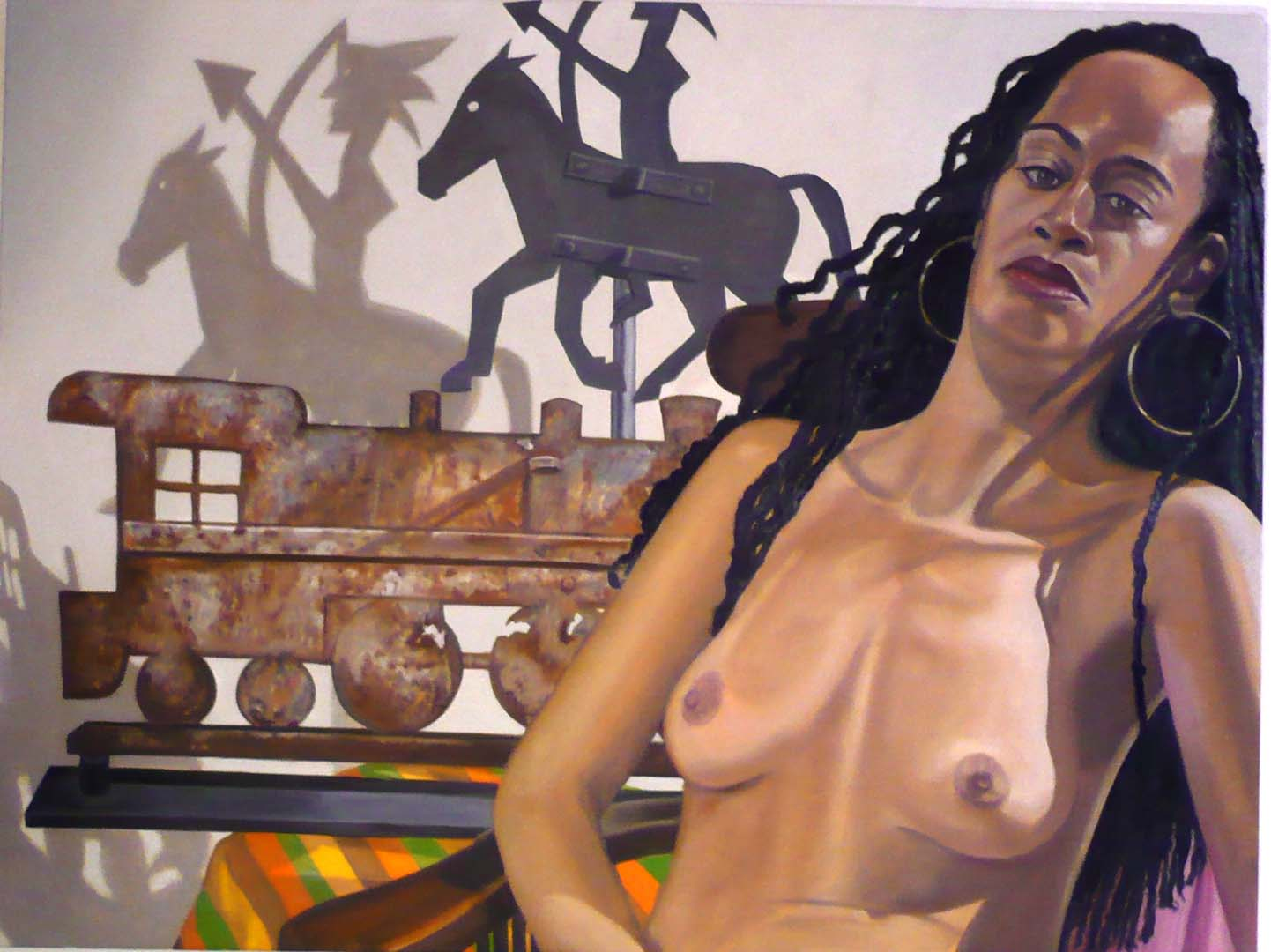 2007 Model With Indian and Locomotive Weathervanes Oil on Canvas 36 x 48
