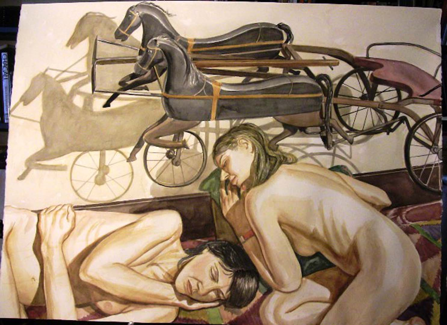 """2007 Models with Horse Drawn Chariot Kiddie Car Watercolor on Paper 34"""" x 46.5"""""""