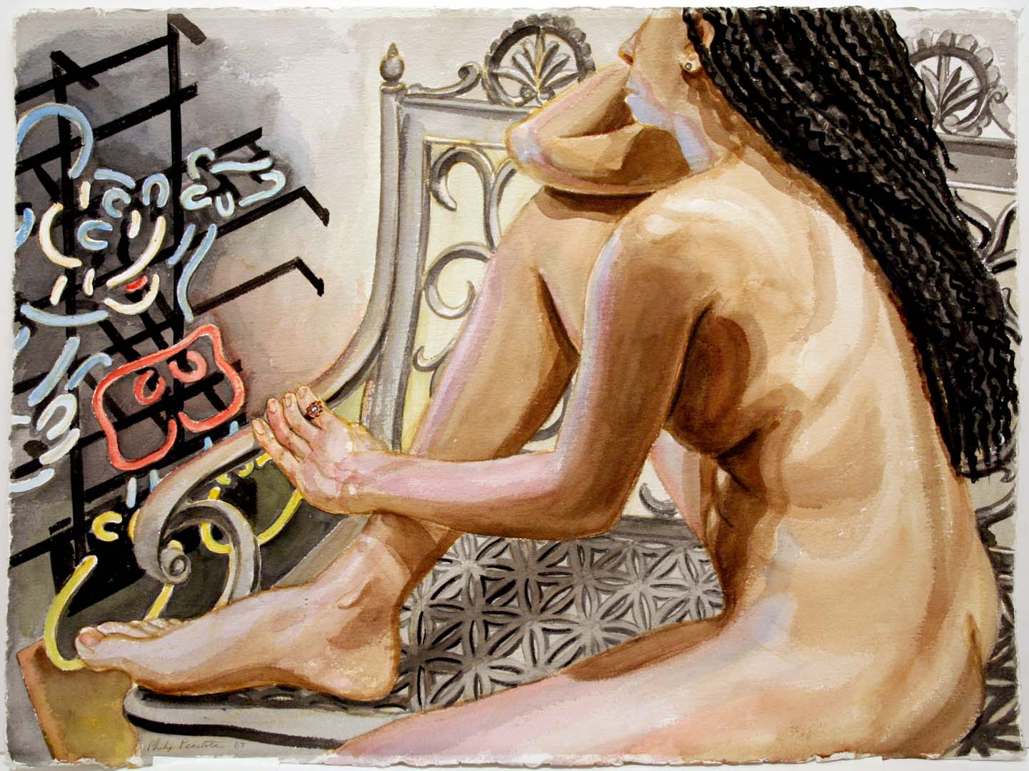 "2007 Model with Mickey Mouse on Iron Bench Watercolor on Paper 22.5"" x 30.25"""