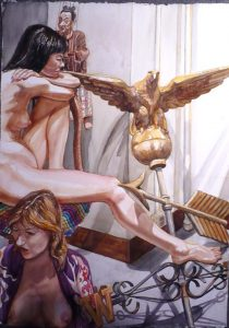 2008 Two Models with Eagle Weathervane and Myanmar Marionette Watercolor on Paper 41.5 x 29.25