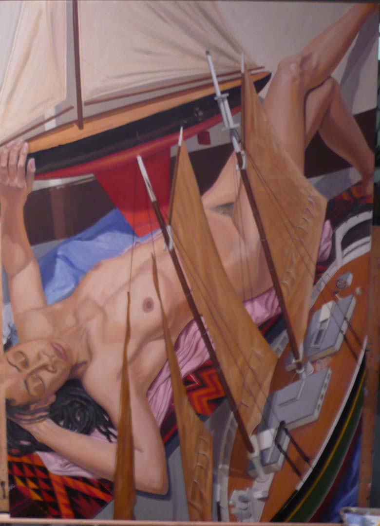 2008 (unfinished) Model With Two Model Boats Oil 60x42