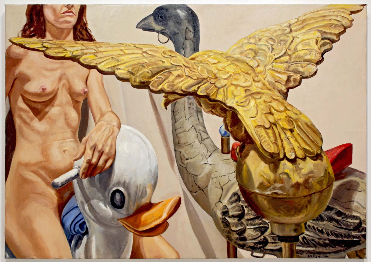 2009 Model with American Eagle Weathervane Oil on Canvas 24 x 34