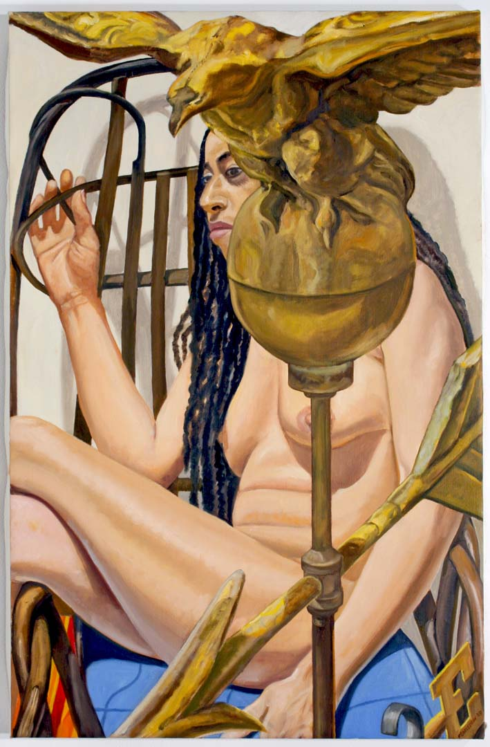 "2009 Model With American Eagle Weathervane Oil on Canvas 34"" x 22"""