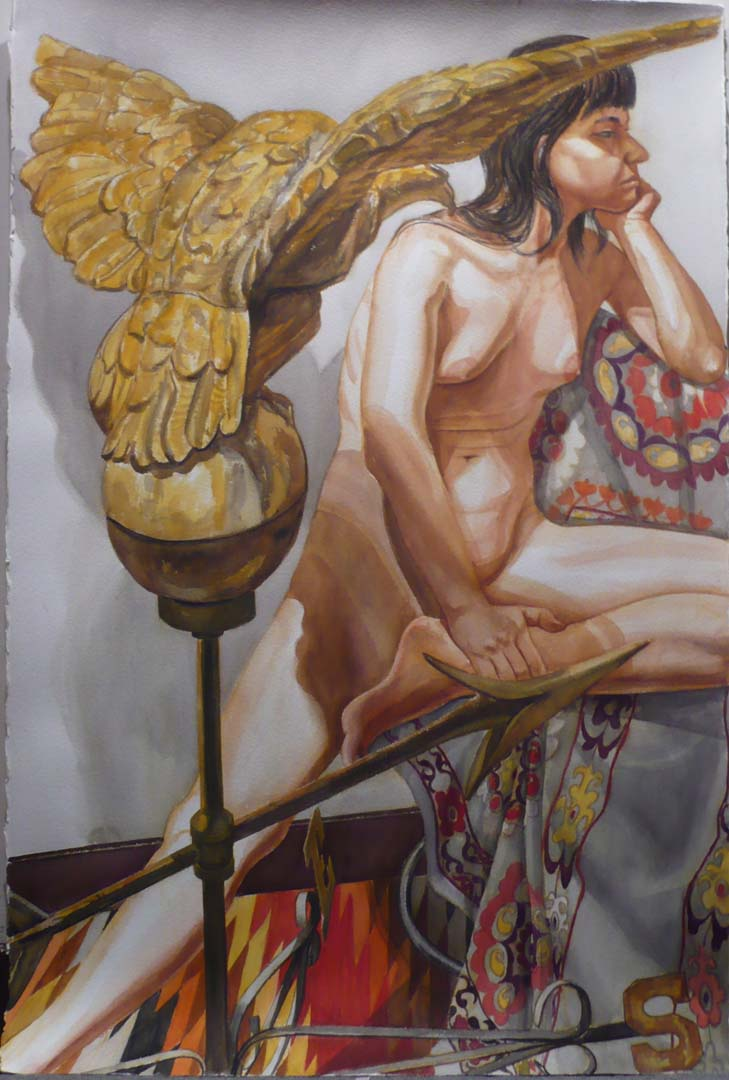 "2009 Model with Eagle Weathervane Watercolor on Paper 60"" x 40"""