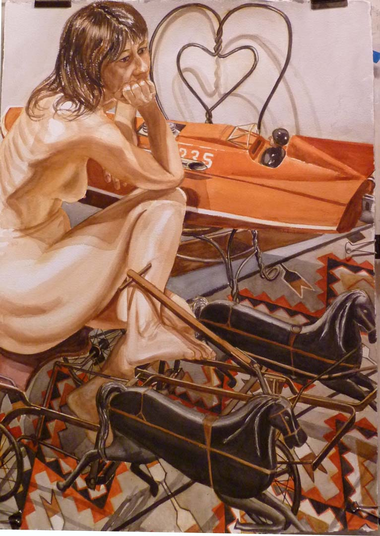 "2010 Model with Speedboat and Kiddie Car Harness Racer Watercolor on Paper 75"" x 41.625"""