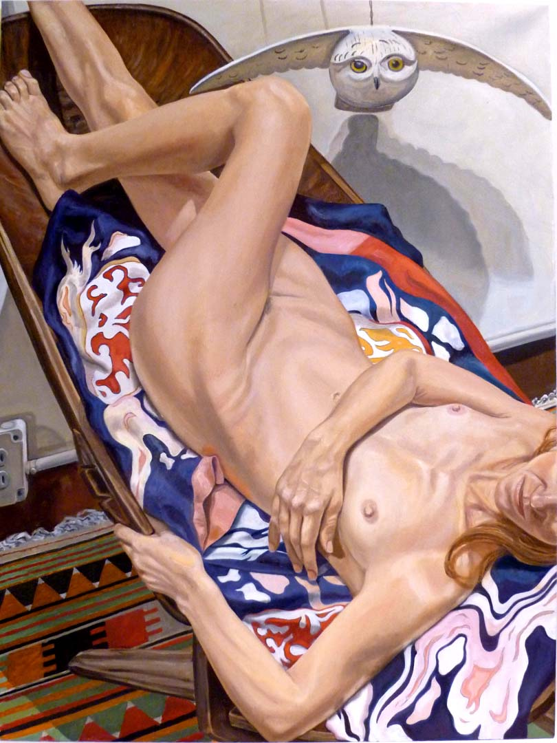 "2010 Model on African Chair with Japanese Robe and Wooden Owl Oil on Canvas 48"" x 36"""