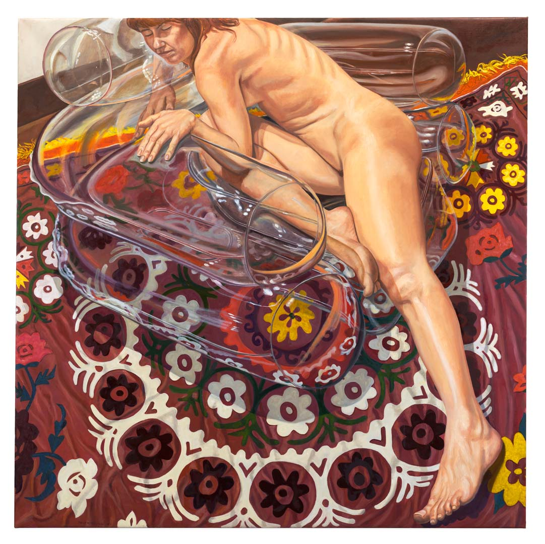 "2011 Model on Clear Plastic Chair and Floral Rug Oil on Canvas 60"" x 60"""