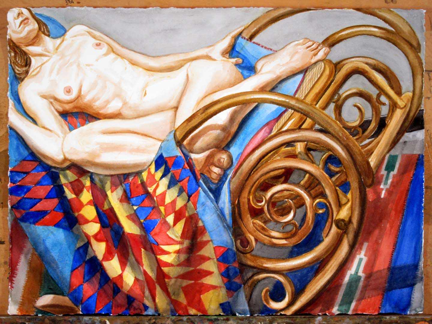 """2011 Model with Star Patterned Quilt on Rocker Watercolor on Paper 22.5"""" x 30.25"""""""