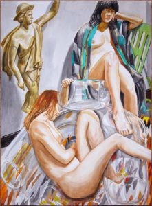 2011 Two Models with Bubble Chair and Mercury Watercolor on Paper 29.875 x 22