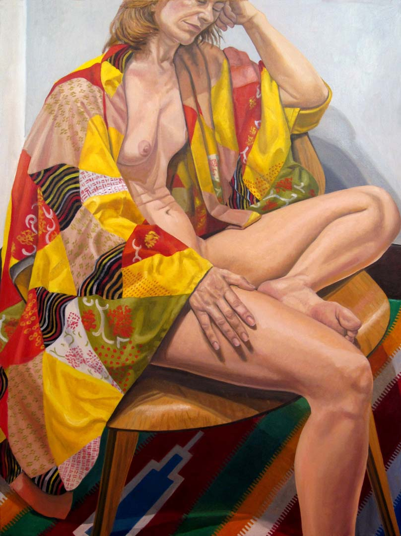 "2012 Model on Eames Chair in Patchwork Kimono Oil on Canvas 48"" x 36"""