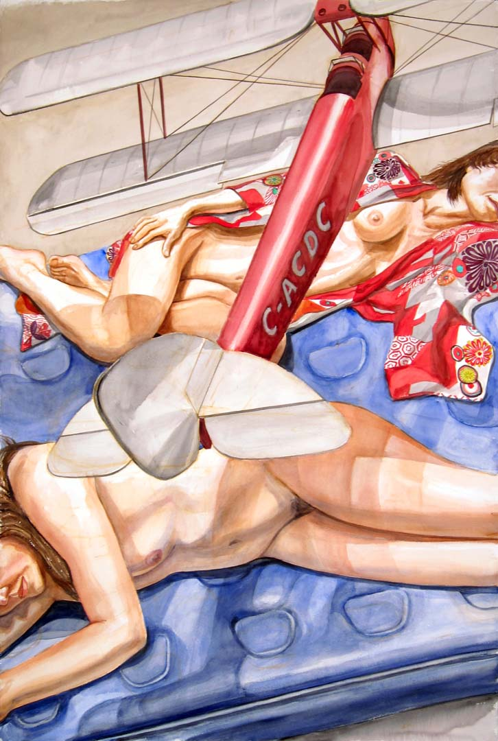 "2013 Models Lying Down with Model Airplane Watercolor on Paper 60"" x 40"""