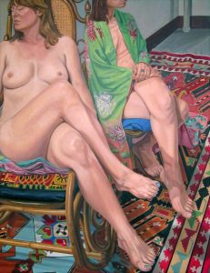 2013 Two Female Models Sitting with Legs Crossed and Kazak Rug Oil on Canvas 84 x 60