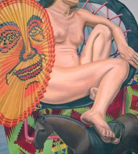 2014 Model with Japanese Lantern and Folk Art Horse Oil on Canvas 40 x 36