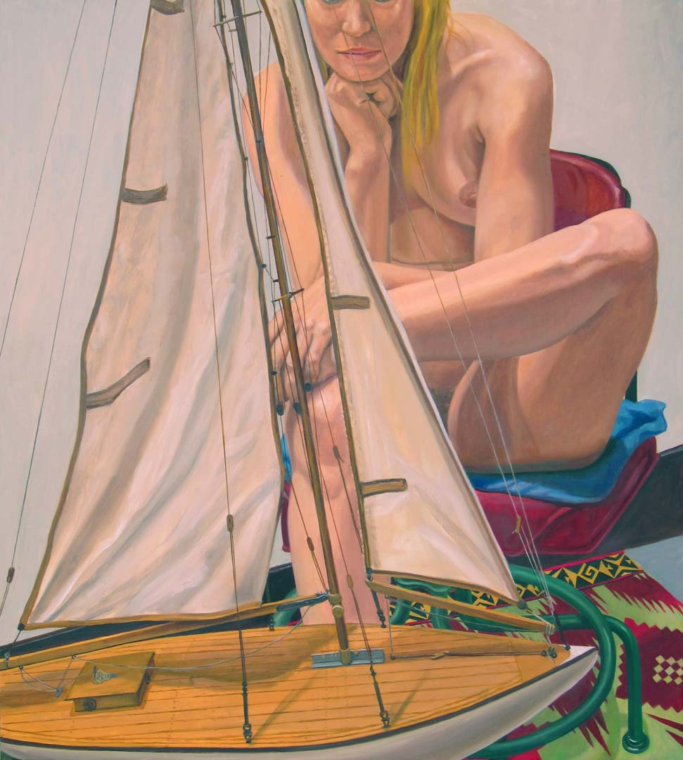 "2014 Model with Pond Boat Oil on Canvas 40"" x 36"""